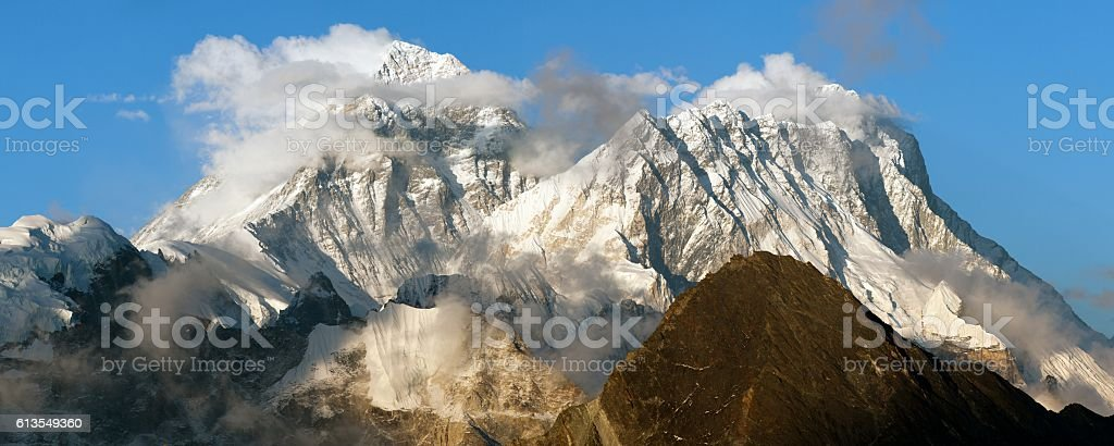 Evening panoramic view of mount Everest and Lhotse stock photo