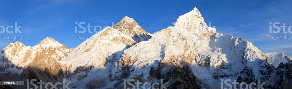 Evening panoramic view of Mount Everest from Kala Patthar stock photo