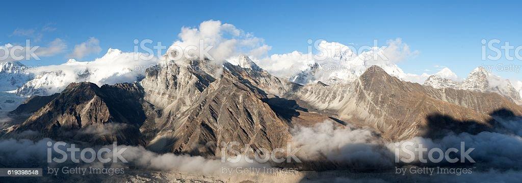 Evening panoramic view of Mount Everest, Lhotse, Makalu stock photo