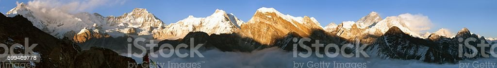 Evening panoramic view of Mount Everest stock photo
