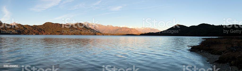 Evening panoramic view of Rara Daha lake stock photo