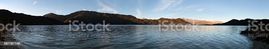 Evening panoramic view of Rara Daha or Mahendra Tal Lake stock photo