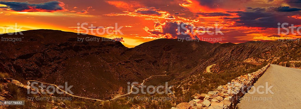 Evening panoramic view of the Swartberg Pass in South Africa stock photo