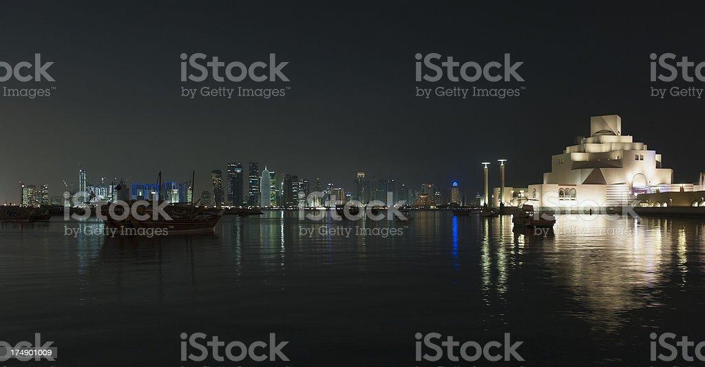 evening photo museum of Islamic Art in Doha, Qatar royalty-free stock photo