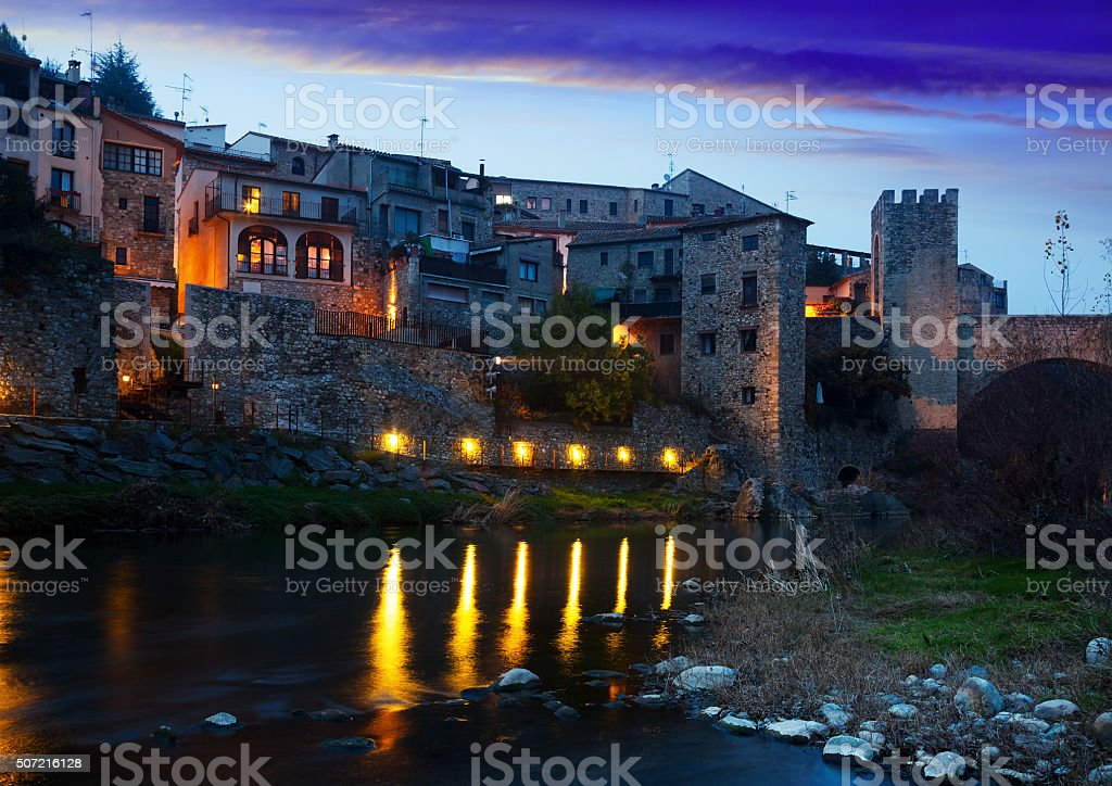 Evening photo of medieval town. Besalu stock photo