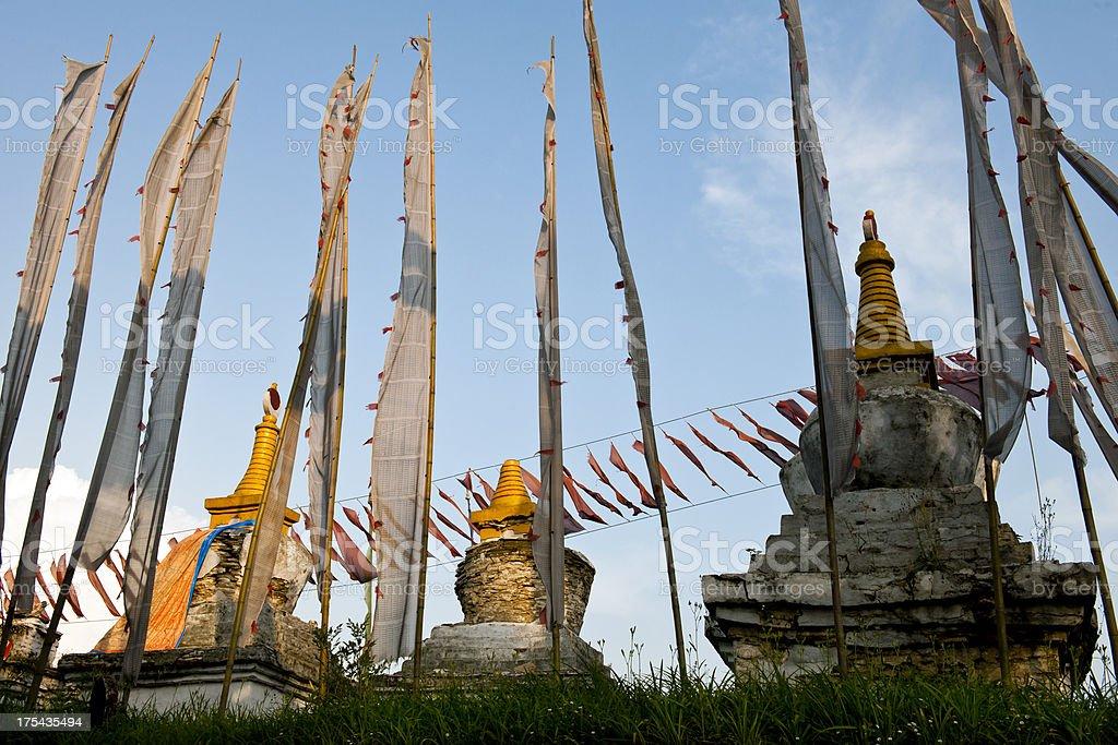 Evening Prayer Flags in Sangachoeling Monastery Sikkim royalty-free stock photo