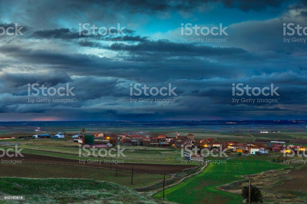 Evening Rain Falling on Spainish Plain stock photo