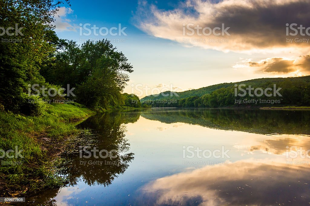 Evening reflections in the Delaware River, at Delaware Water Gap stock photo