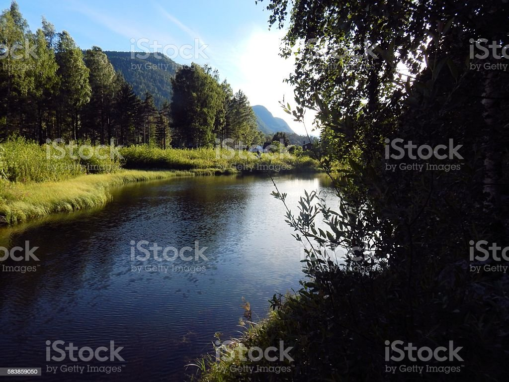 Evening River stock photo