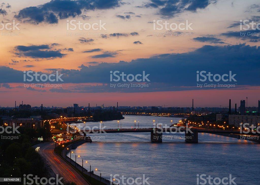 Evening river view. Cityscape in sunset. Neva river, Saint Petersburg. stock photo