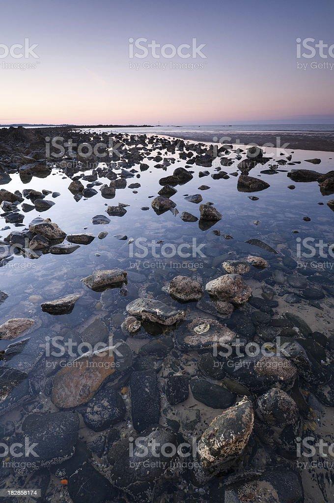 Evening rocky beach stock photo