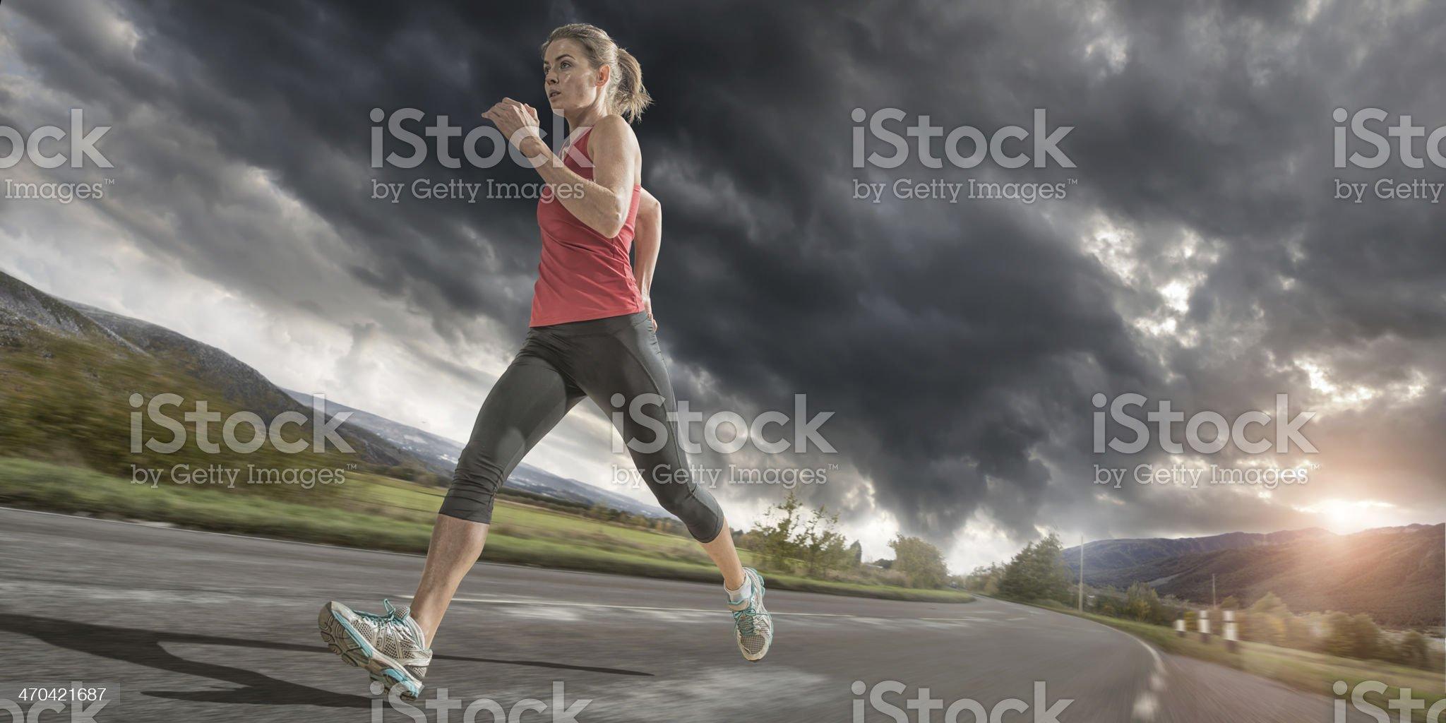 Evening Run Under Stormy Sky royalty-free stock photo