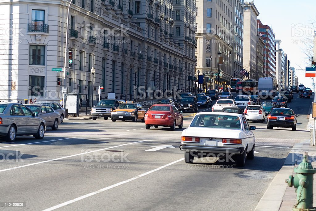 Evening Rush Hour Traffic  in Washington DC, United States stock photo