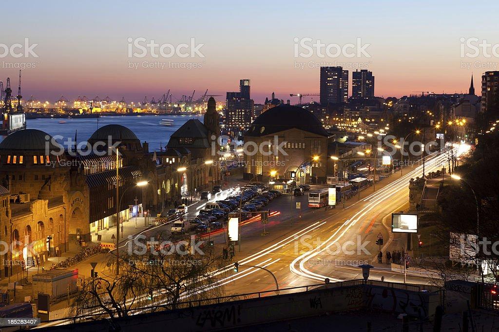 Evening scene in Hamburg harbour stock photo