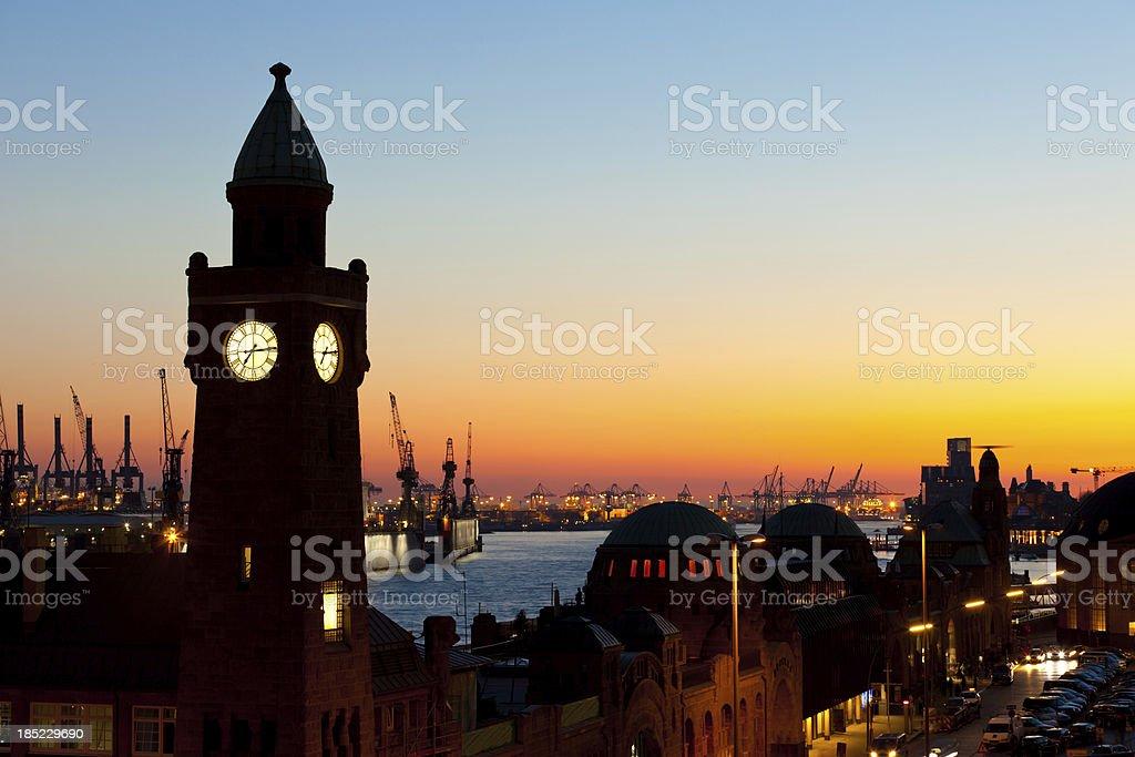 Evening scene in Hamburg stock photo