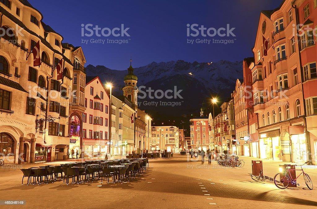 Evening scene in Innsbruck, Austria. stock photo
