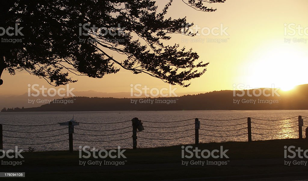Evening scene - Lake Taupo, NZ royalty-free stock photo