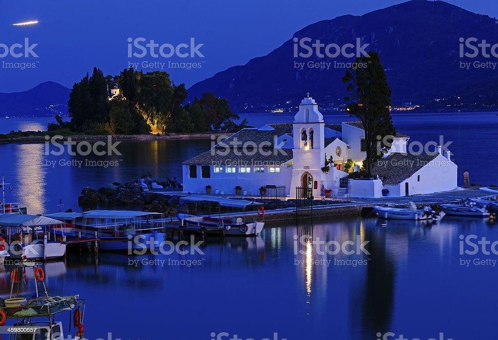 Evening scene of Vlacherna monastery, Corfu, Greece stock photo