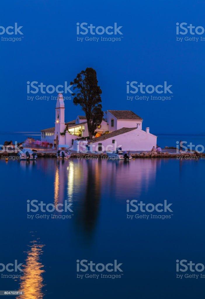 Evening scene of Vlacherna monastery, Corfu stock photo