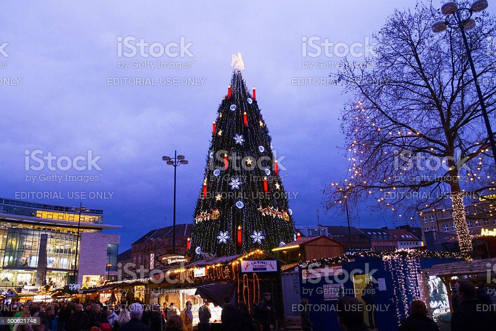Evening scene on christmas market Dortmund stock photo