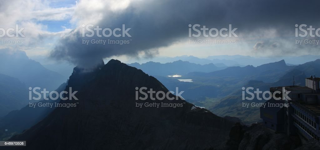 Evening scene on mount Titlis stock photo