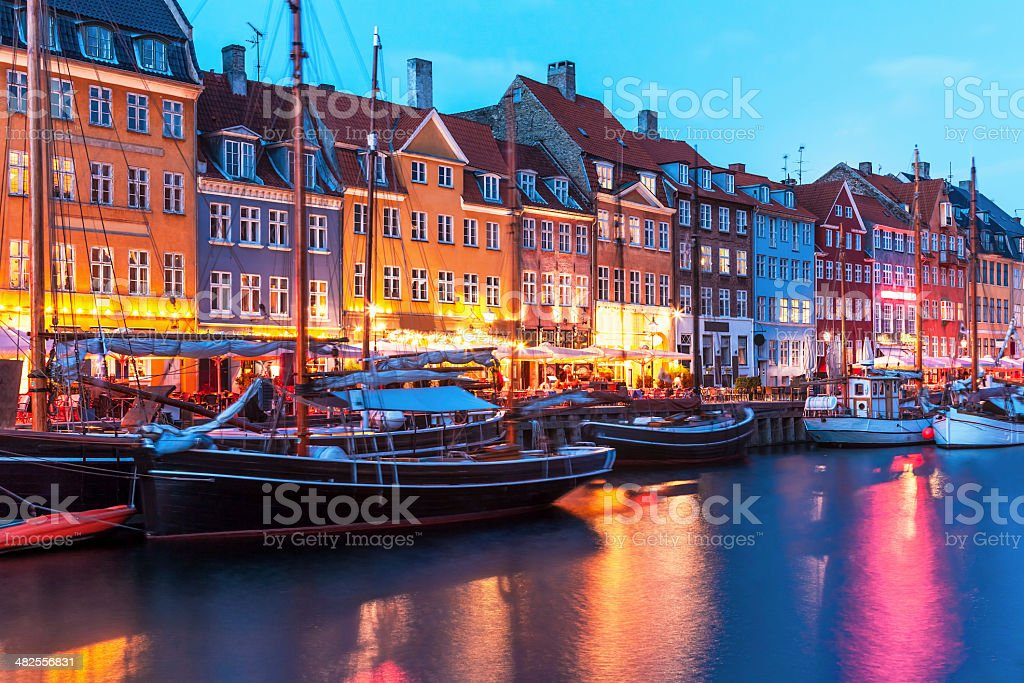 Evening scenery of Nyhavn in Copenhagen, Denmark stock photo
