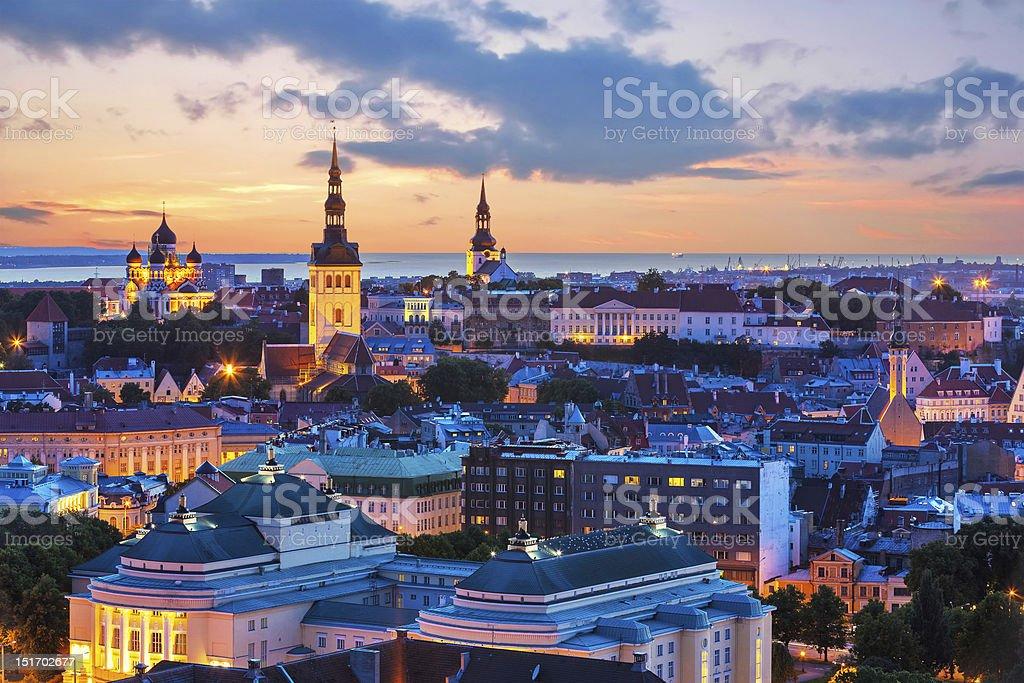 Evening scenery of Tallinn, Estonia stock photo