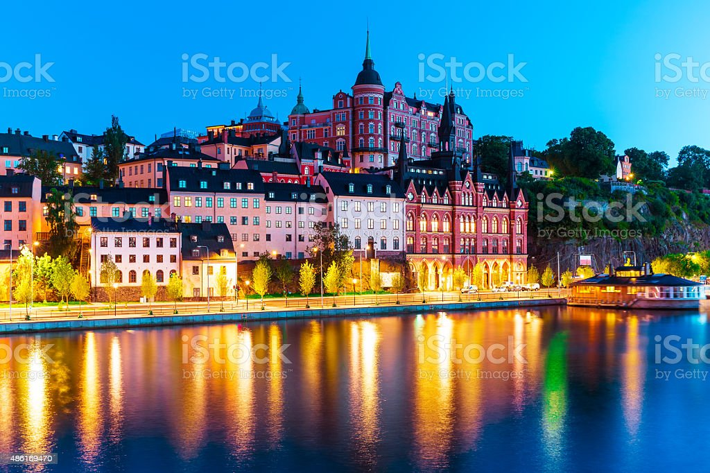 Evening scenery of the Old Town in Stockholm, Sweden stock photo