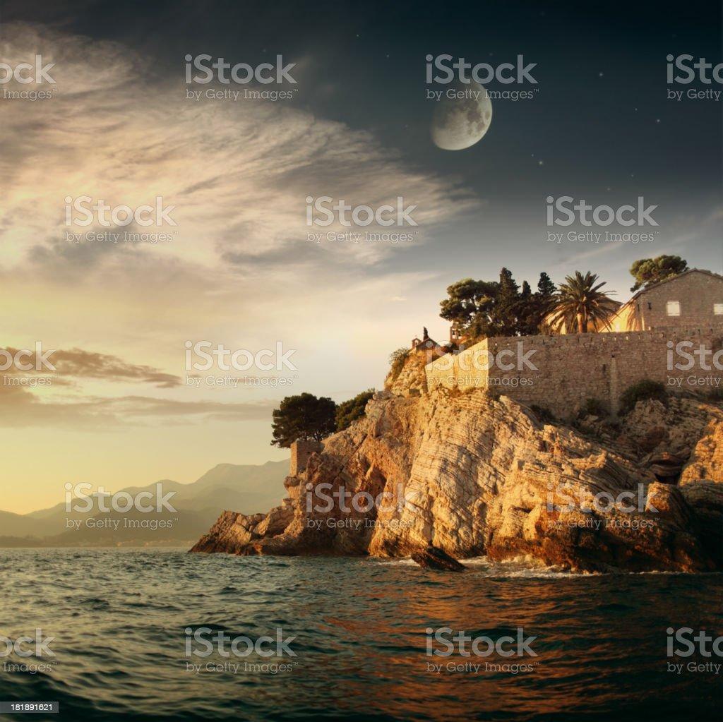 Evening sea landsape with moon stock photo