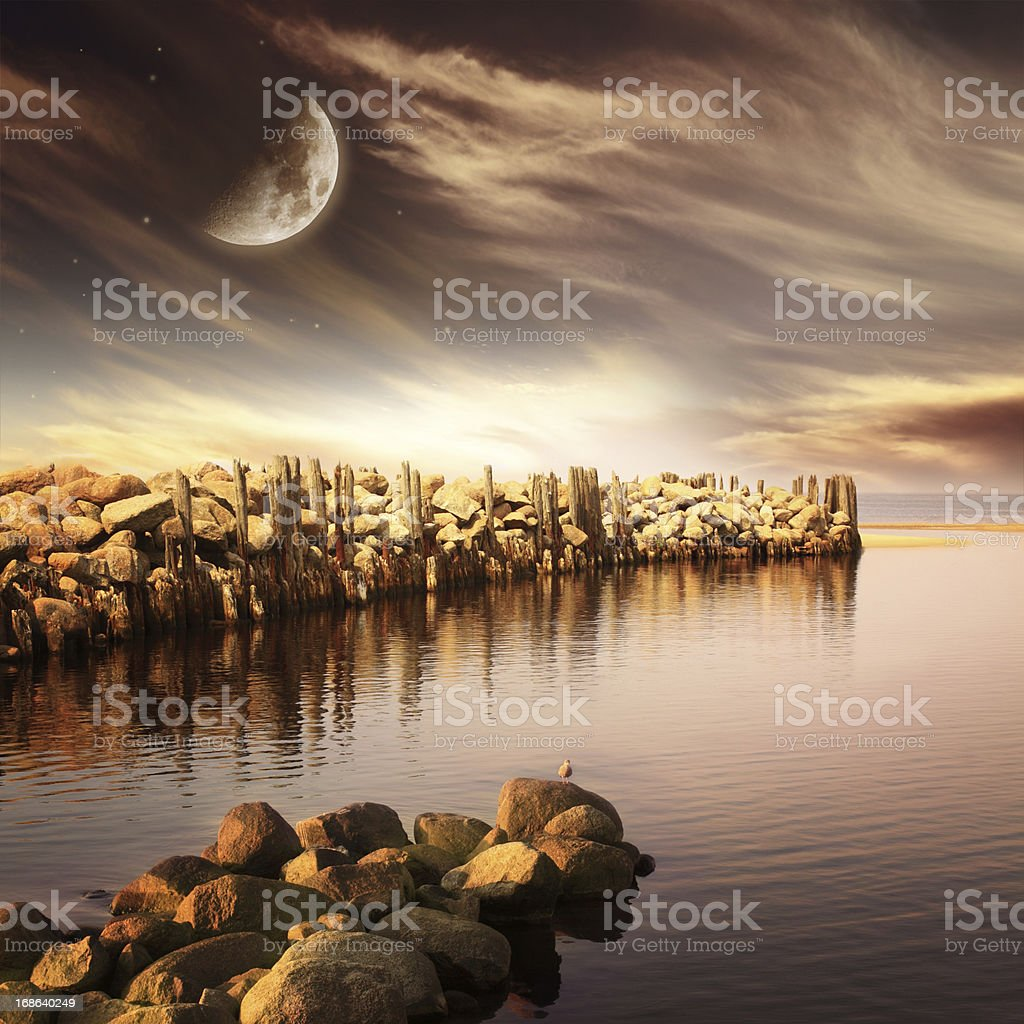 Evening sea landscape with moon royalty-free stock photo