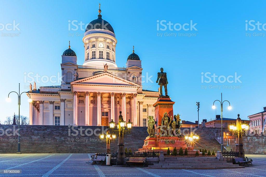 Evening Senate Square, Helsinki, Finland stock photo