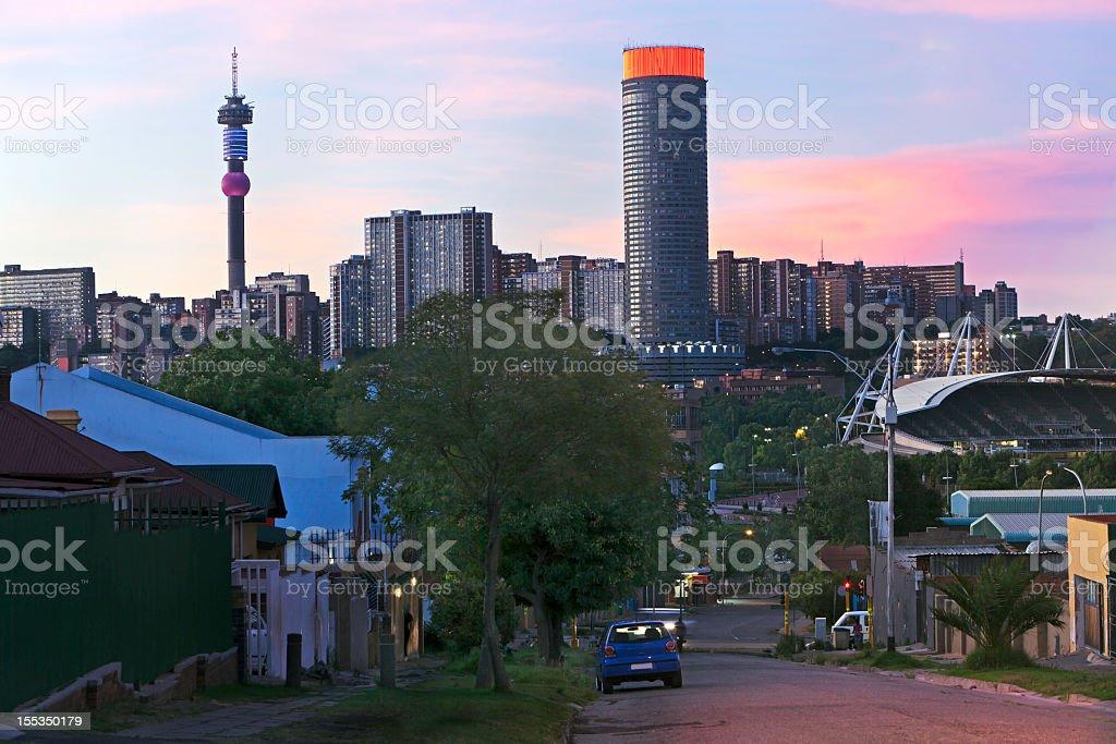 Evening setting of Hillbrow, Johannesburg stock photo