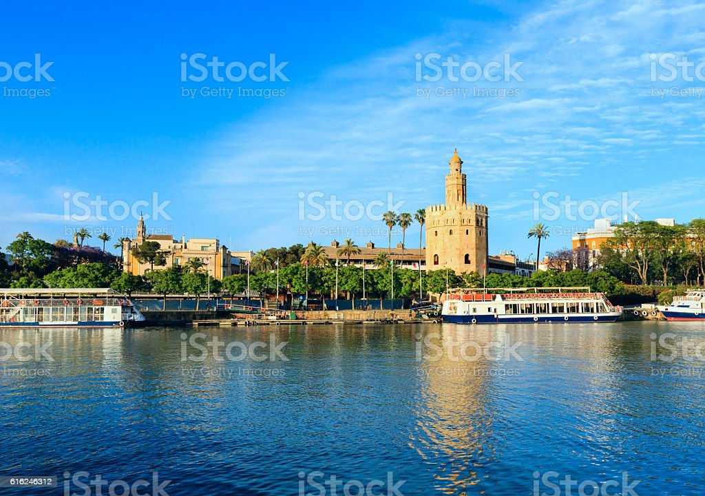 Evening Seville city view (Spain). stock photo