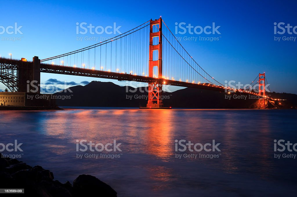 Evening shot of Golden Gate Bridge in San Francisco royalty-free stock photo