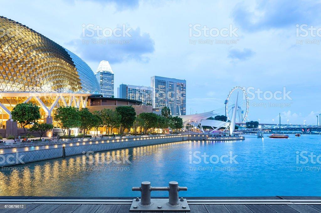 evening Singapore skyline stock photo