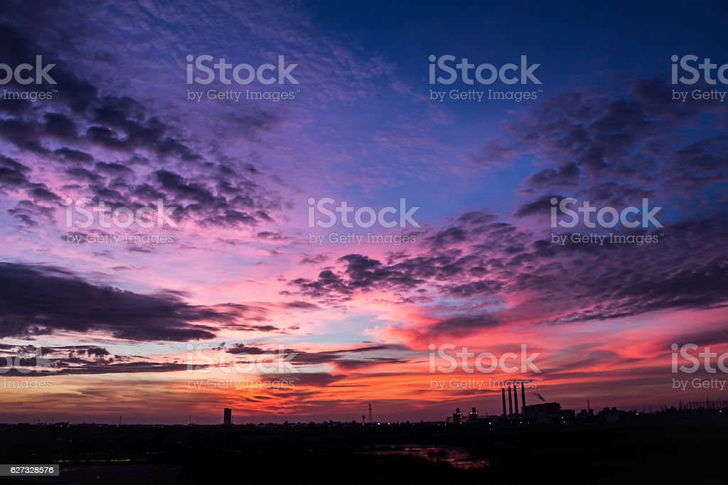 evening  sky  in industrial area stock photo