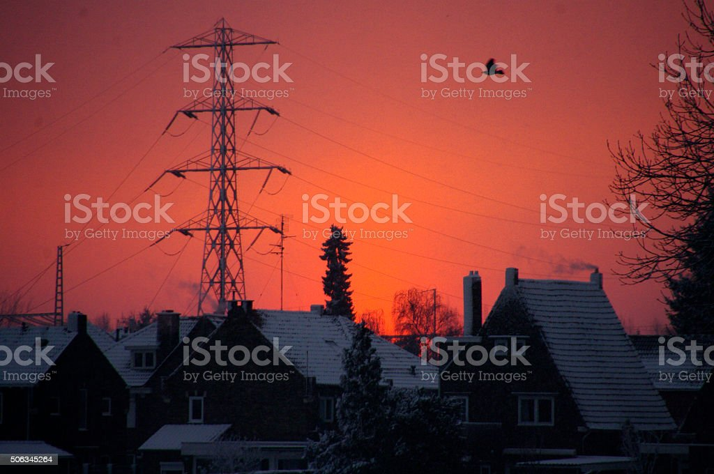 Evening sky in the winter stock photo