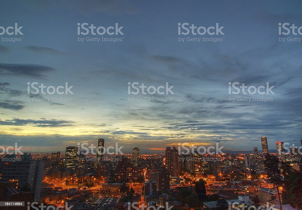 Evening Sky over Bogotá stock photo
