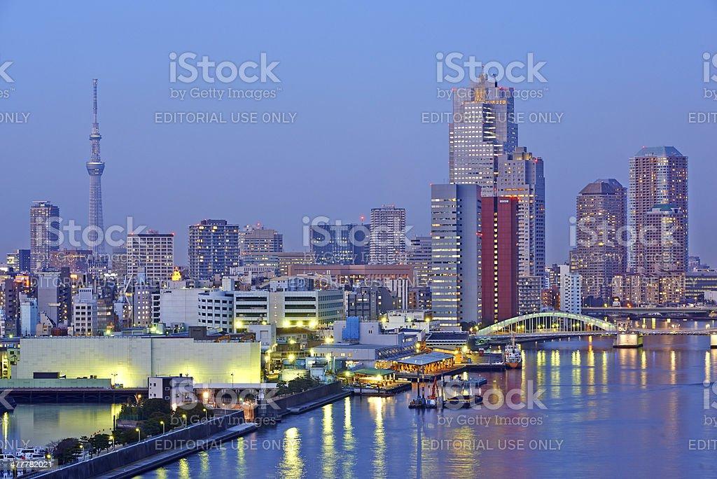 Evening Skyline in Chuo Ward stock photo