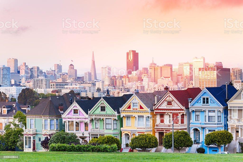 Evening skyline of San Francisco, painted ladies stock photo