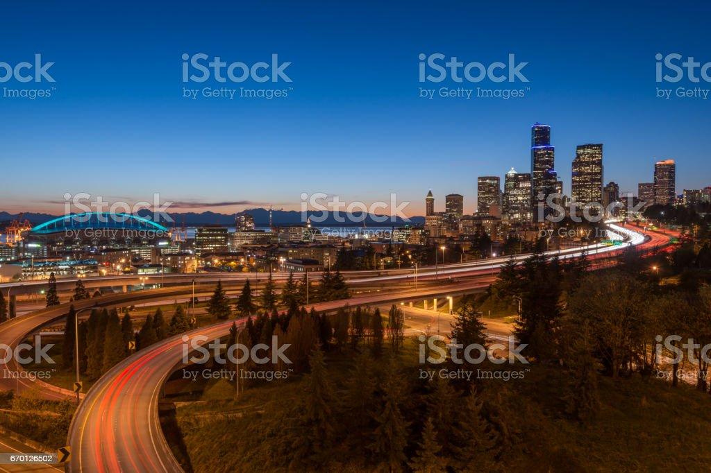 Evening skyline of Seattle stock photo