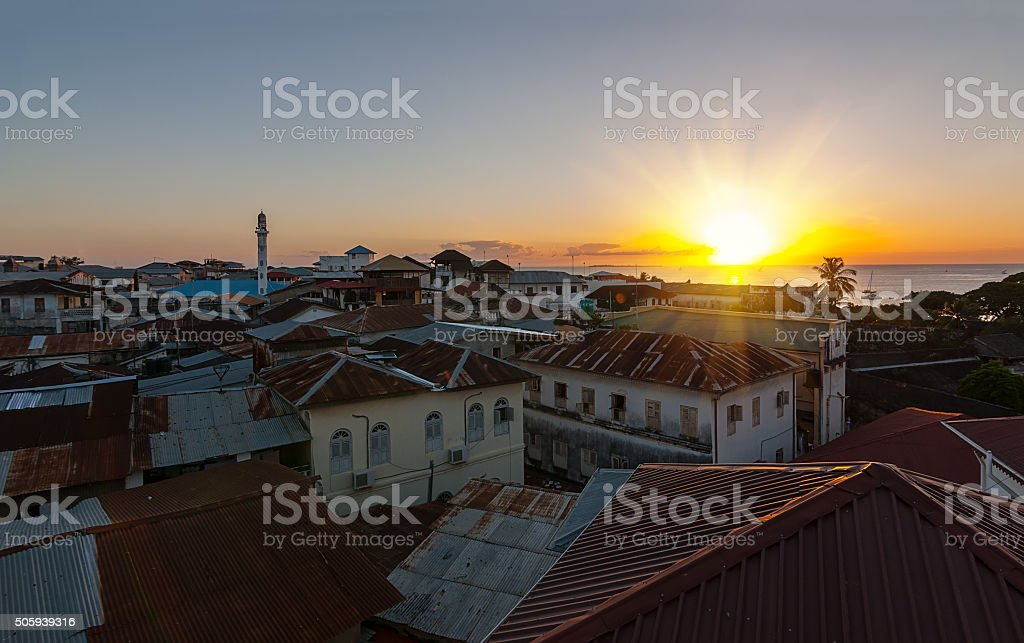 evening skyline view of an old city stock photo