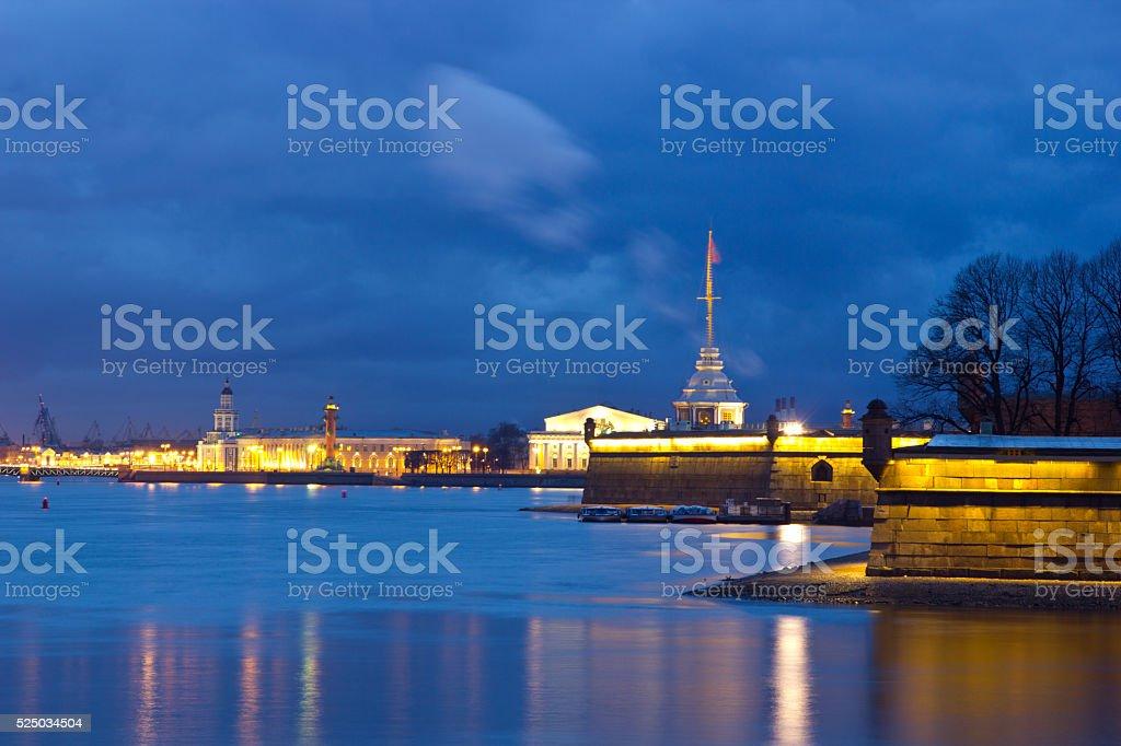 Evening St. Petersburg, River Neva, Russia stock photo