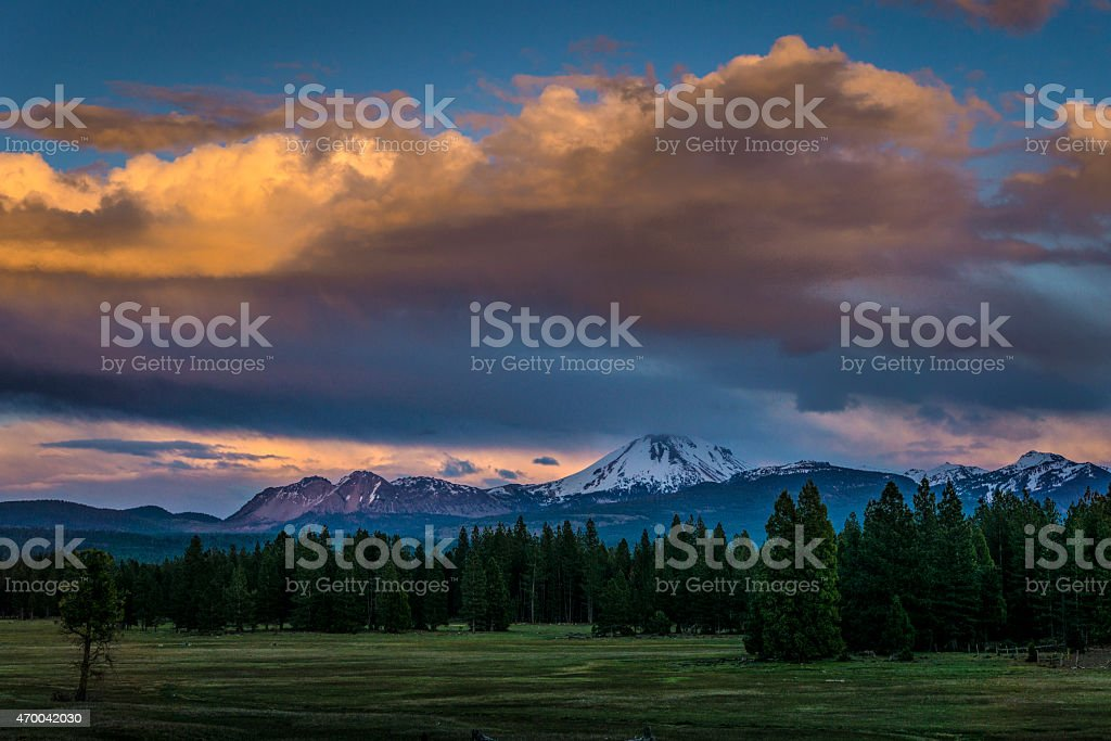 Evening Storm Clouds over Lassen National Park stock photo