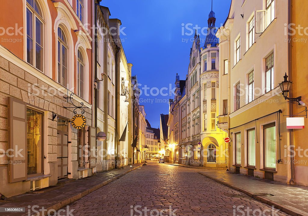 Evening street in the Old Town of Tallinn, Estonia royalty-free stock photo