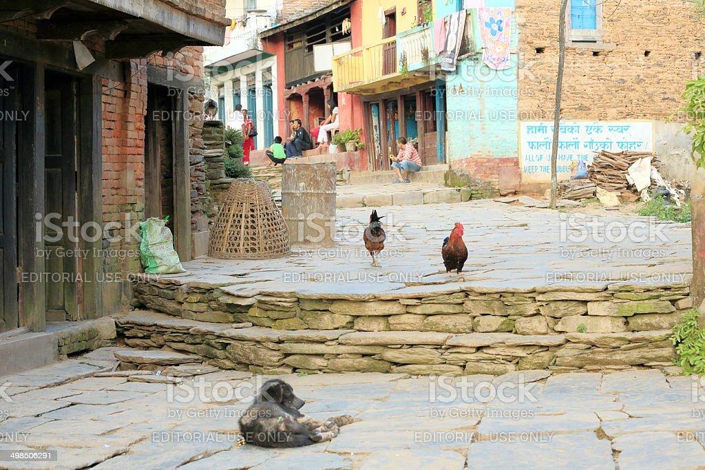 Evening street scene. Bandipur-Nepal. 0451 royalty-free stock photo