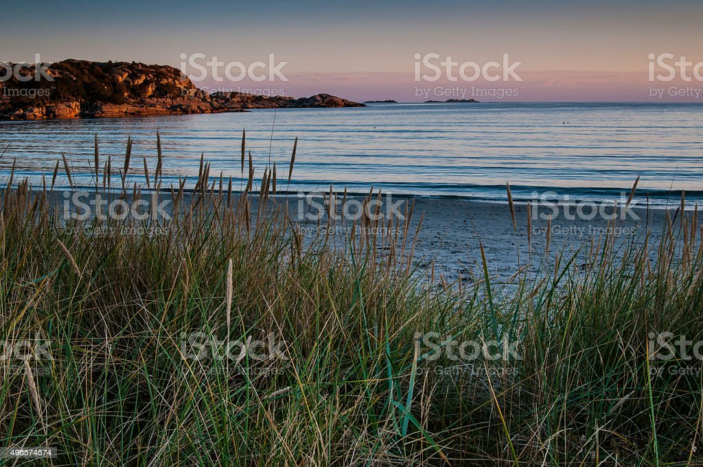 Evening sun at Skadberg. stock photo
