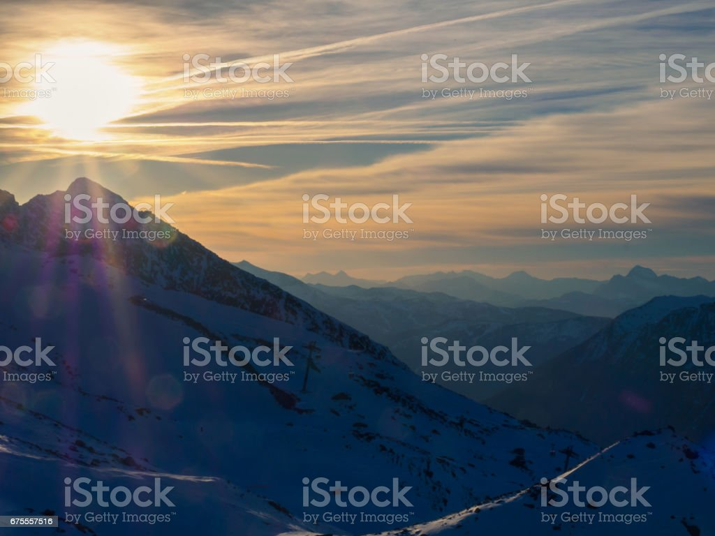 Evening sun in French Alps stock photo