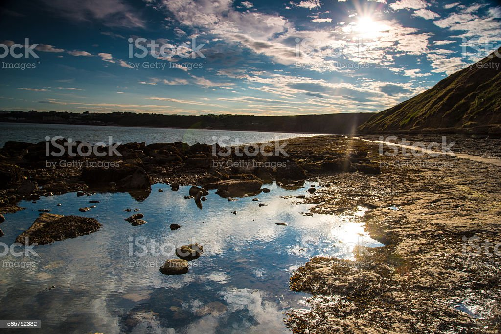 Evening sun over the Yorkshire coast. stock photo