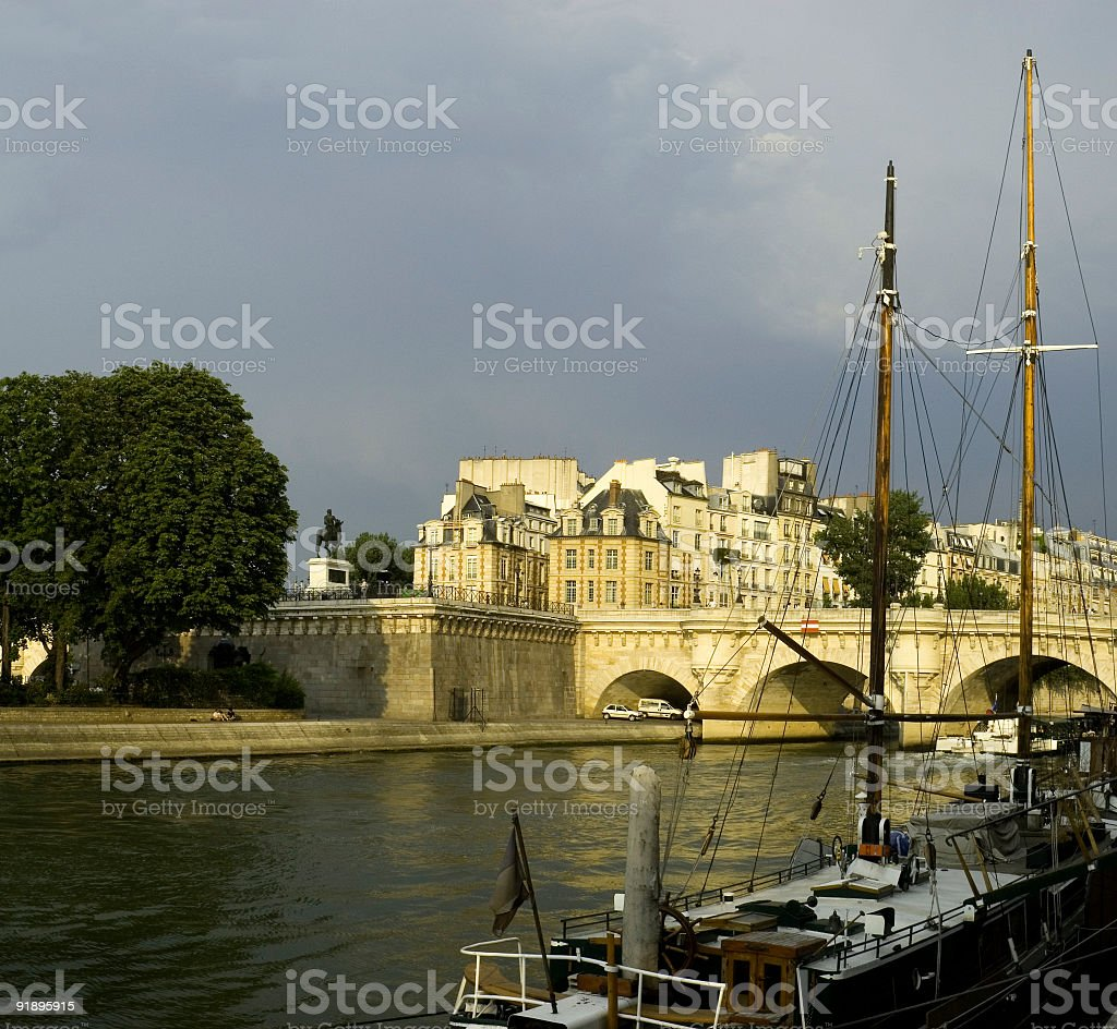 Evening sunlight, Paris royalty-free stock photo
